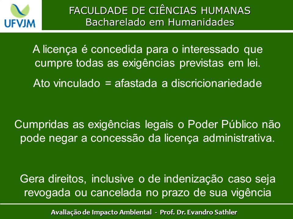 FACULDADE DE CIÊNCIAS HUMANAS Bacharelado em Humanidades Avaliação de Impacto Ambiental - Prof. Dr. Evandro Sathler A licença é concedida para o inter