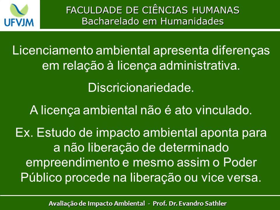 FACULDADE DE CIÊNCIAS HUMANAS Bacharelado em Humanidades Avaliação de Impacto Ambiental - Prof. Dr. Evandro Sathler Licenciamento ambiental apresenta