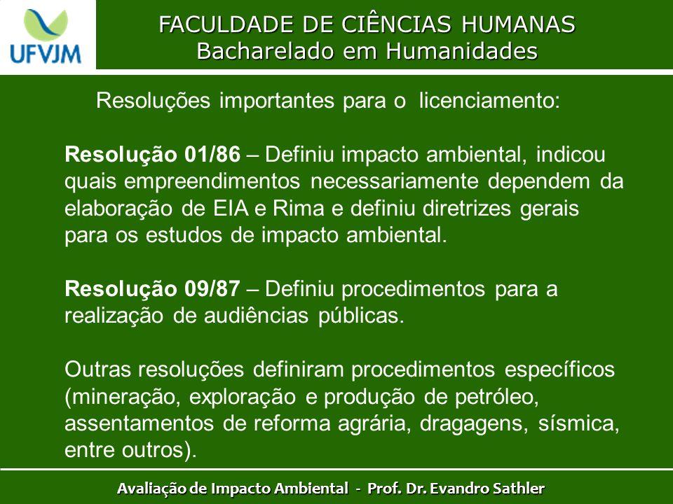 FACULDADE DE CIÊNCIAS HUMANAS Bacharelado em Humanidades Avaliação de Impacto Ambiental - Prof. Dr. Evandro Sathler Resoluções importantes para o lice