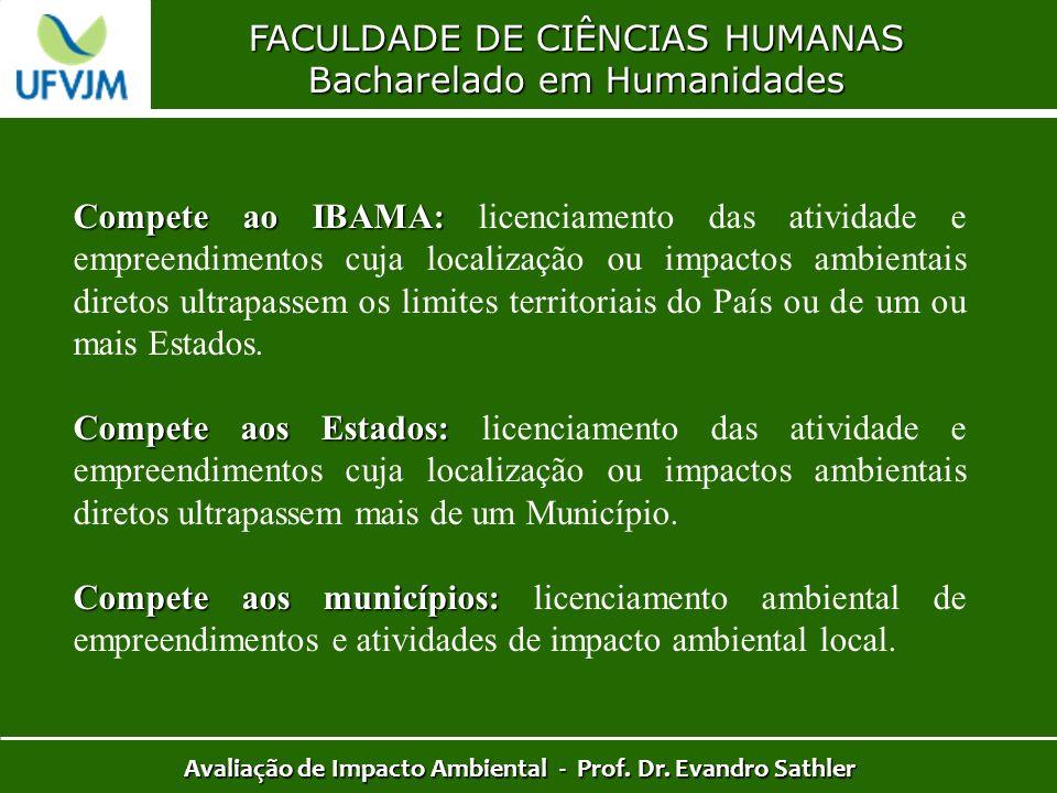 FACULDADE DE CIÊNCIAS HUMANAS Bacharelado em Humanidades Avaliação de Impacto Ambiental - Prof. Dr. Evandro Sathler Compete ao IBAMA: Compete ao IBAMA