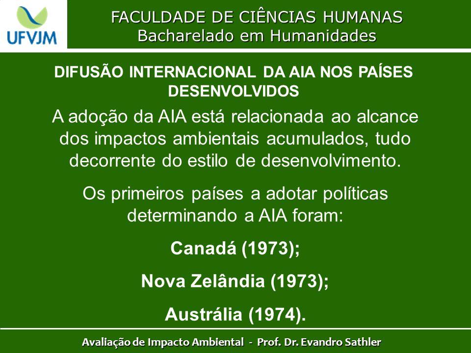 FACULDADE DE CIÊNCIAS HUMANAS Bacharelado em Humanidades Avaliação de Impacto Ambiental - Prof. Dr. Evandro Sathler DIFUSÃO INTERNACIONAL DA AIA NOS P