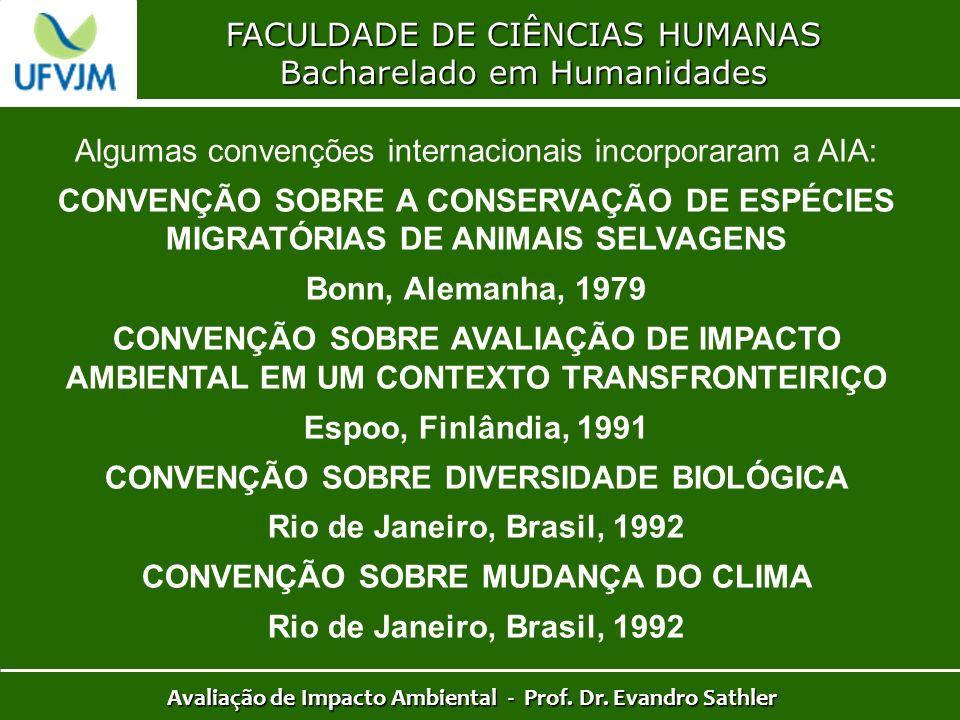 FACULDADE DE CIÊNCIAS HUMANAS Bacharelado em Humanidades Avaliação de Impacto Ambiental - Prof. Dr. Evandro Sathler Algumas convenções internacionais