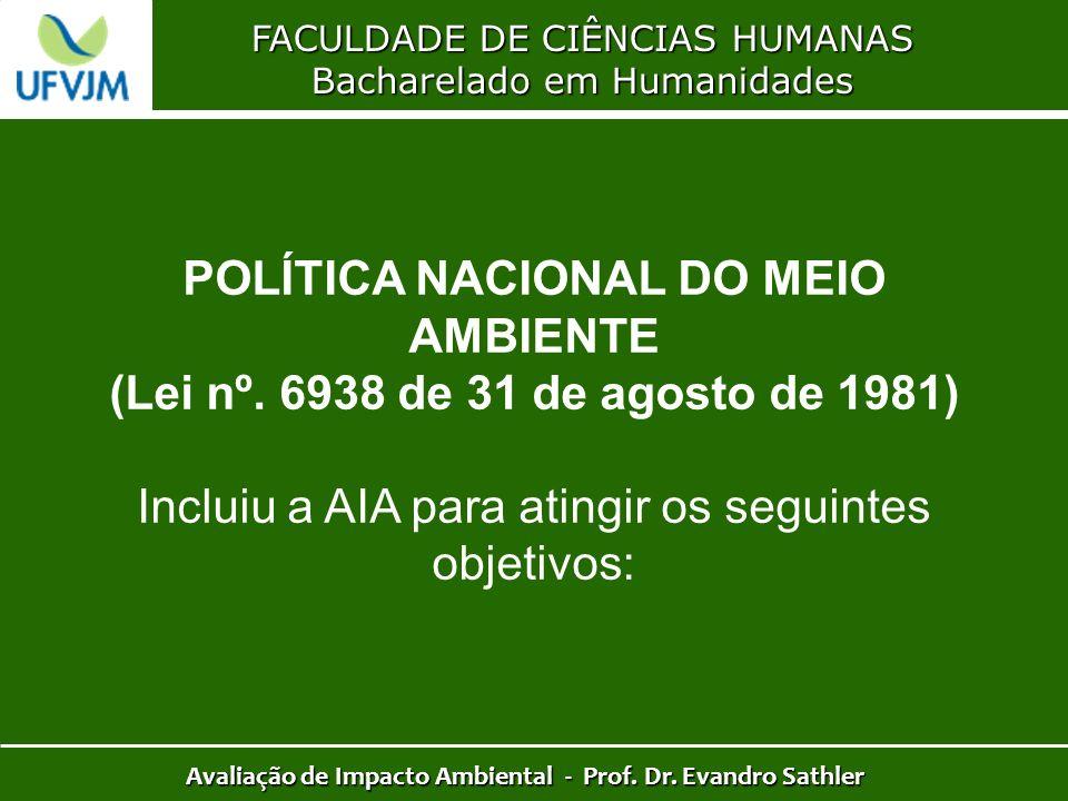 FACULDADE DE CIÊNCIAS HUMANAS Bacharelado em Humanidades Avaliação de Impacto Ambiental - Prof. Dr. Evandro Sathler POLÍTICA NACIONAL DO MEIO AMBIENTE