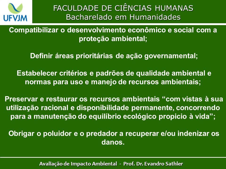 FACULDADE DE CIÊNCIAS HUMANAS Bacharelado em Humanidades Avaliação de Impacto Ambiental - Prof. Dr. Evandro Sathler Compatibilizar o desenvolvimento e