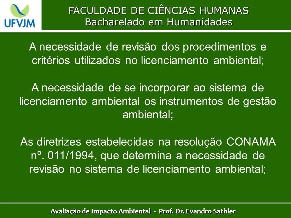 FACULDADE DE CIÊNCIAS HUMANAS Bacharelado em Humanidades Avaliação de Impacto Ambiental - Prof. Dr. Evandro Sathler A necessidade de revisão dos proce