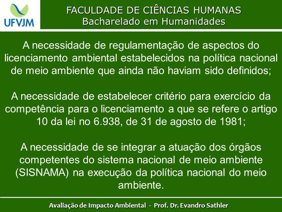 FACULDADE DE CIÊNCIAS HUMANAS Bacharelado em Humanidades Avaliação de Impacto Ambiental - Prof. Dr. Evandro Sathler A necessidade de regulamentação de