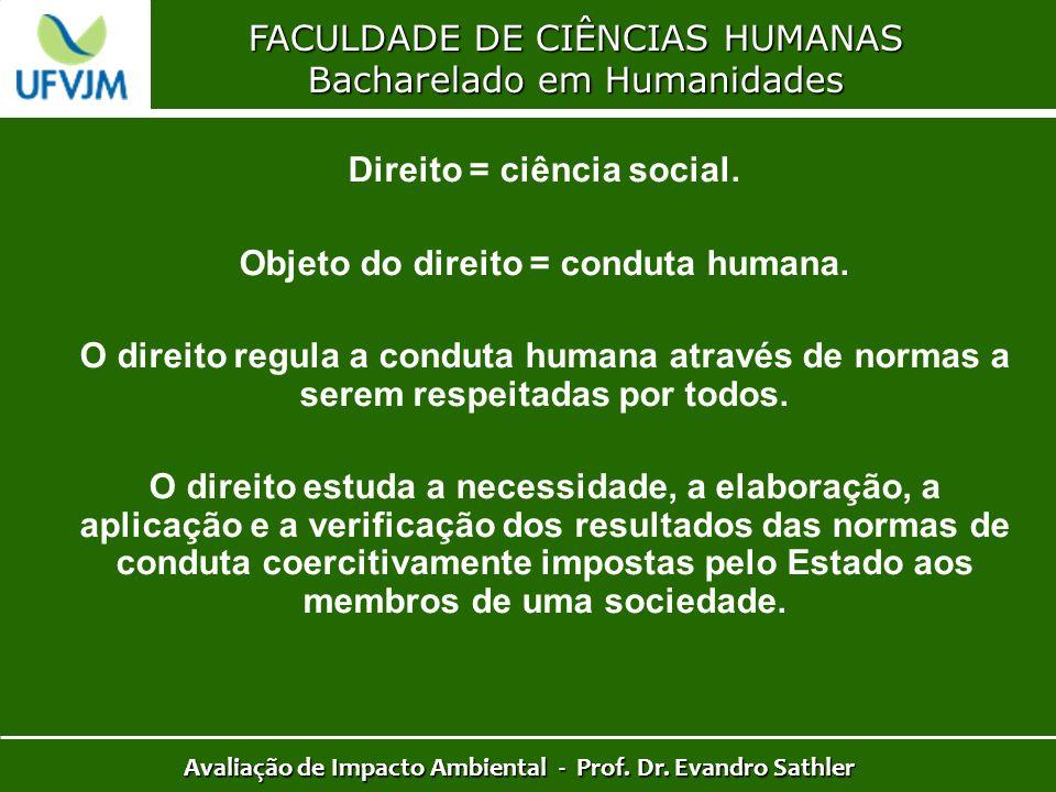 FACULDADE DE CIÊNCIAS HUMANAS Bacharelado em Humanidades Avaliação de Impacto Ambiental - Prof. Dr. Evandro Sathler Direito = ciência social. Objeto d