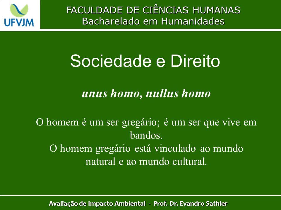 FACULDADE DE CIÊNCIAS HUMANAS Bacharelado em Humanidades Avaliação de Impacto Ambiental - Prof. Dr. Evandro Sathler unus homo, nullus homo O homem é u