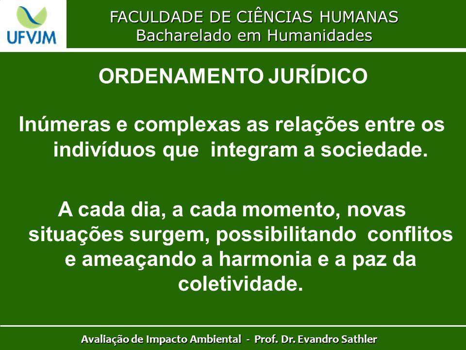 FACULDADE DE CIÊNCIAS HUMANAS Bacharelado em Humanidades Avaliação de Impacto Ambiental - Prof. Dr. Evandro Sathler ORDENAMENTO JURÍDICO Inúmeras e co