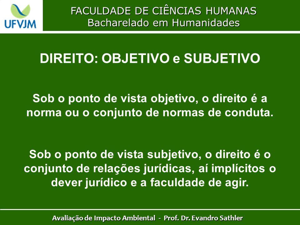 FACULDADE DE CIÊNCIAS HUMANAS Bacharelado em Humanidades Avaliação de Impacto Ambiental - Prof. Dr. Evandro Sathler DIREITO: OBJETIVO e SUBJETIVO Sob