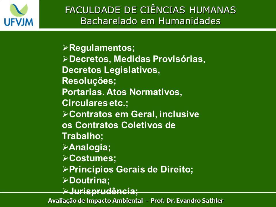 FACULDADE DE CIÊNCIAS HUMANAS Bacharelado em Humanidades Avaliação de Impacto Ambiental - Prof. Dr. Evandro Sathler Regulamentos; Decretos, Medidas Pr