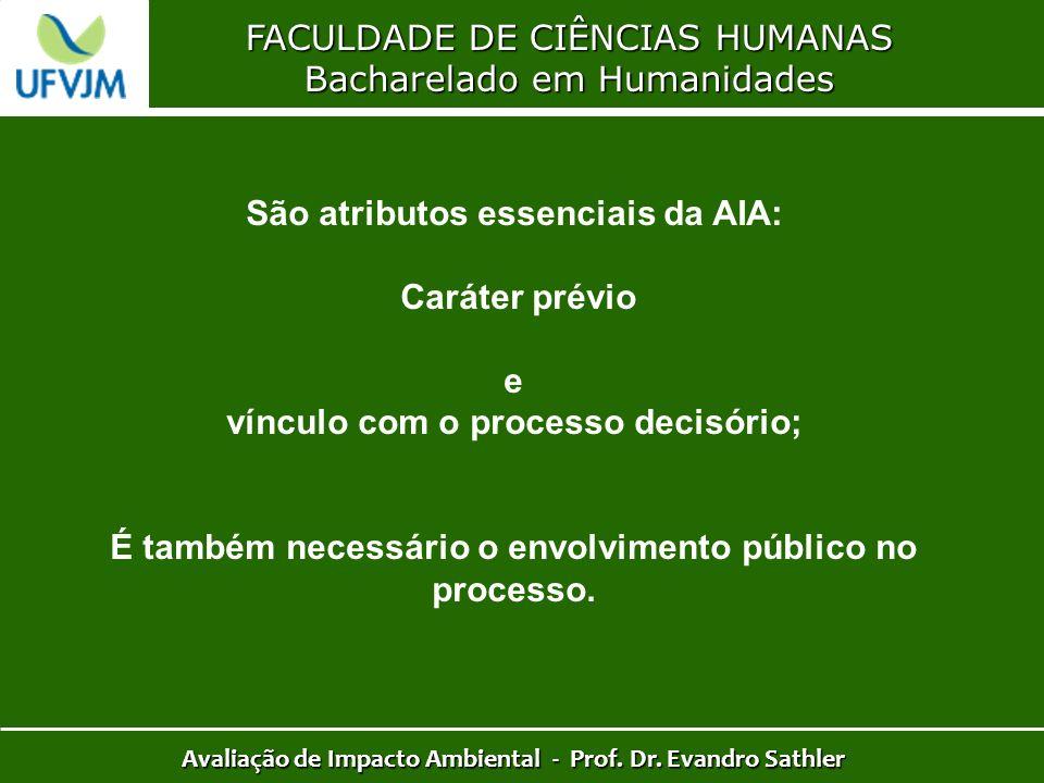 FACULDADE DE CIÊNCIAS HUMANAS Bacharelado em Humanidades Avaliação de Impacto Ambiental - Prof. Dr. Evandro Sathler São atributos essenciais da AIA: C