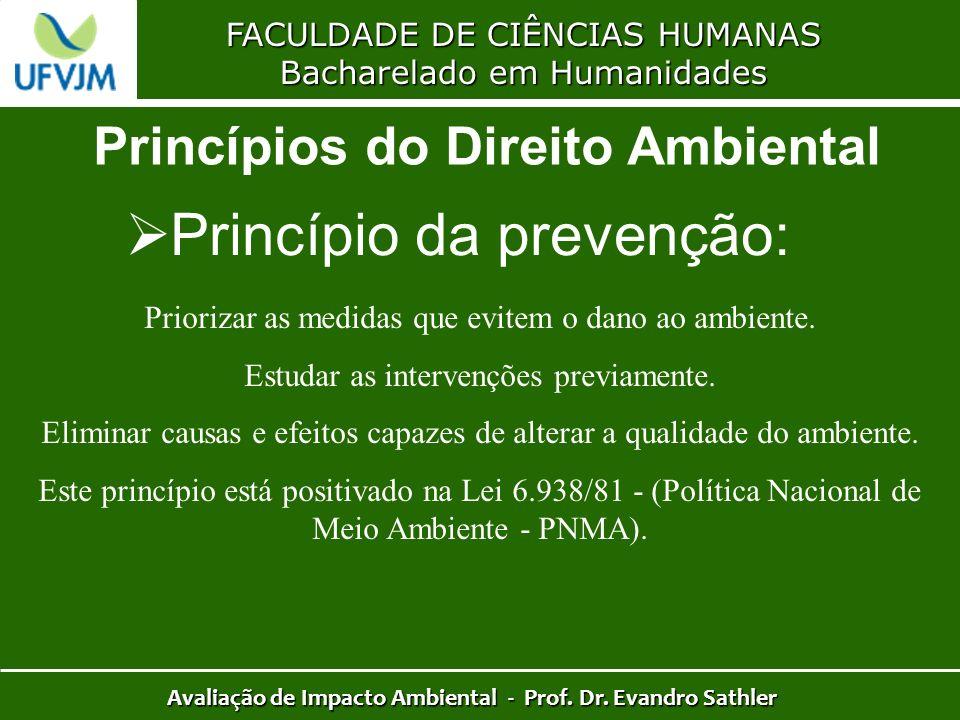 FACULDADE DE CIÊNCIAS HUMANAS Bacharelado em Humanidades Avaliação de Impacto Ambiental - Prof. Dr. Evandro Sathler Princípios do Direito Ambiental Pr