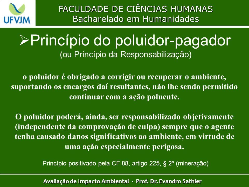 FACULDADE DE CIÊNCIAS HUMANAS Bacharelado em Humanidades Avaliação de Impacto Ambiental - Prof. Dr. Evandro Sathler Princípio do poluidor-pagador (ou