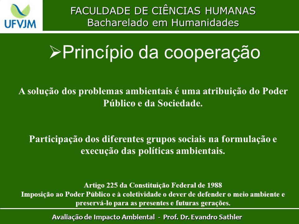 FACULDADE DE CIÊNCIAS HUMANAS Bacharelado em Humanidades Avaliação de Impacto Ambiental - Prof. Dr. Evandro Sathler Princípio da cooperação A solução