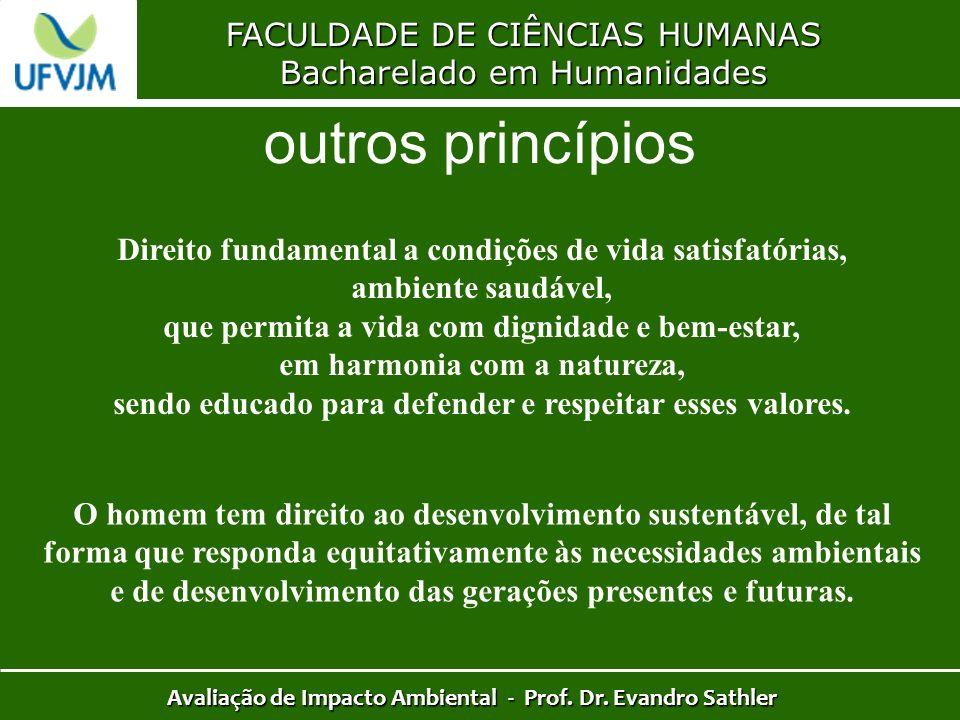 FACULDADE DE CIÊNCIAS HUMANAS Bacharelado em Humanidades Avaliação de Impacto Ambiental - Prof. Dr. Evandro Sathler outros princípios Direito fundamen