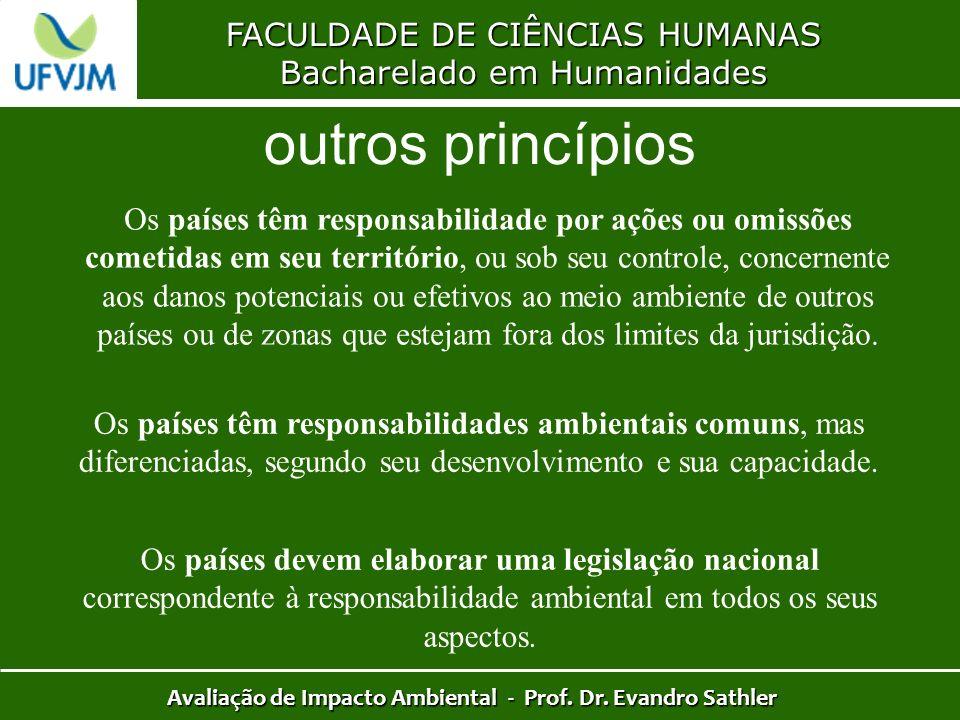 FACULDADE DE CIÊNCIAS HUMANAS Bacharelado em Humanidades Avaliação de Impacto Ambiental - Prof. Dr. Evandro Sathler outros princípios Os países têm re