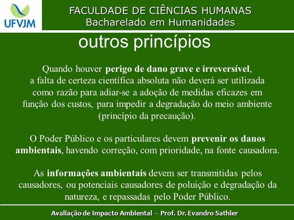 FACULDADE DE CIÊNCIAS HUMANAS Bacharelado em Humanidades Avaliação de Impacto Ambiental - Prof. Dr. Evandro Sathler outros princípios Quando houver pe