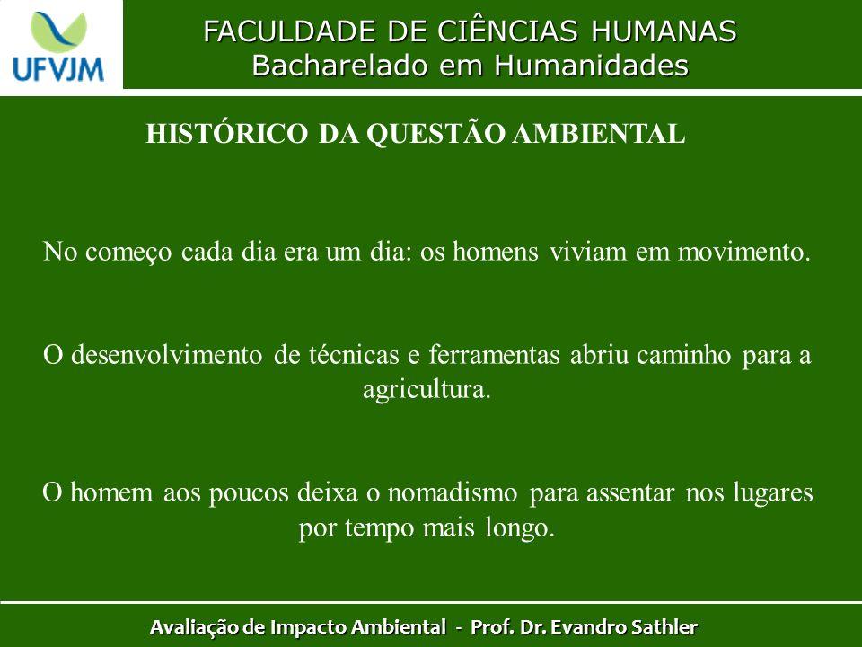 FACULDADE DE CIÊNCIAS HUMANAS Bacharelado em Humanidades Avaliação de Impacto Ambiental - Prof. Dr. Evandro Sathler HISTÓRICO DA QUESTÃO AMBIENTAL No