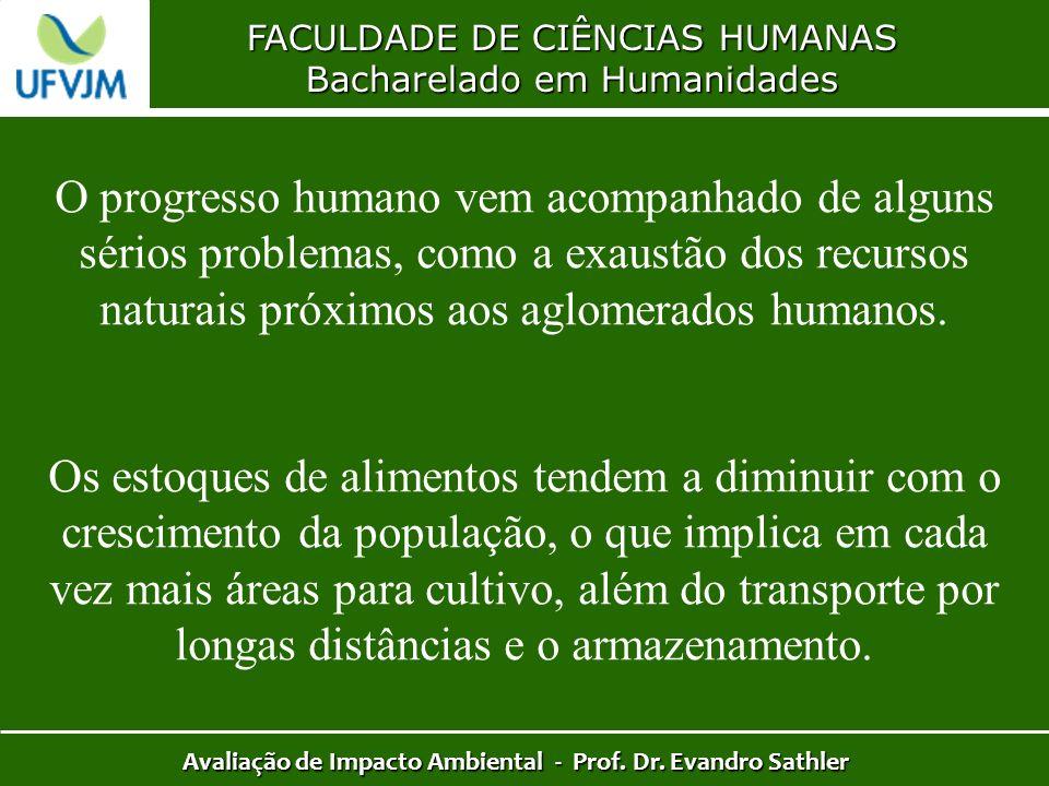 FACULDADE DE CIÊNCIAS HUMANAS Bacharelado em Humanidades Avaliação de Impacto Ambiental - Prof. Dr. Evandro Sathler O progresso humano vem acompanhado