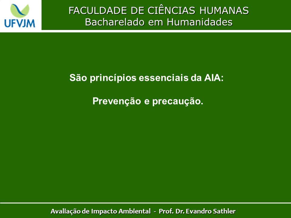 FACULDADE DE CIÊNCIAS HUMANAS Bacharelado em Humanidades Avaliação de Impacto Ambiental - Prof. Dr. Evandro Sathler São princípios essenciais da AIA: