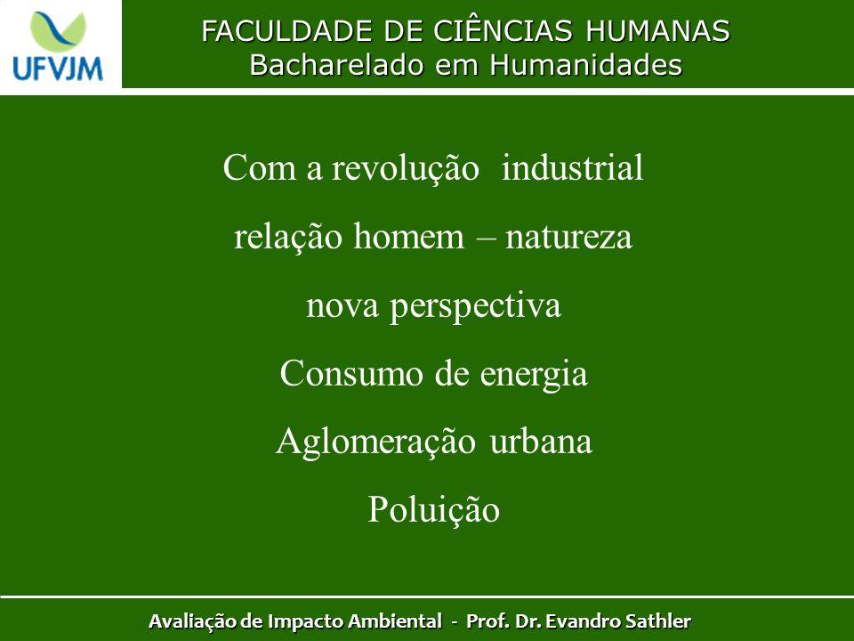 FACULDADE DE CIÊNCIAS HUMANAS Bacharelado em Humanidades Avaliação de Impacto Ambiental - Prof. Dr. Evandro Sathler Com a revolução industrial relação
