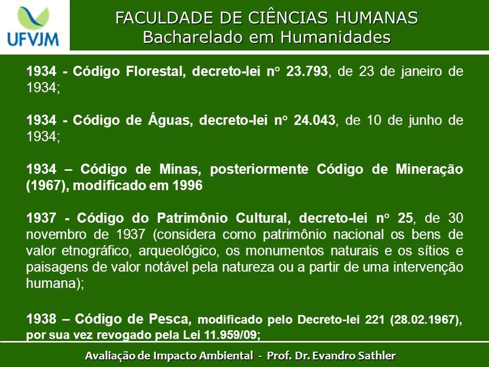 FACULDADE DE CIÊNCIAS HUMANAS Bacharelado em Humanidades Avaliação de Impacto Ambiental - Prof. Dr. Evandro Sathler 1934 - Código Florestal, decreto-l