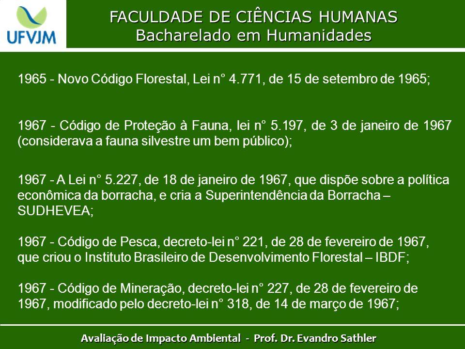 FACULDADE DE CIÊNCIAS HUMANAS Bacharelado em Humanidades Avaliação de Impacto Ambiental - Prof. Dr. Evandro Sathler 1965 - Novo Código Florestal, Lei