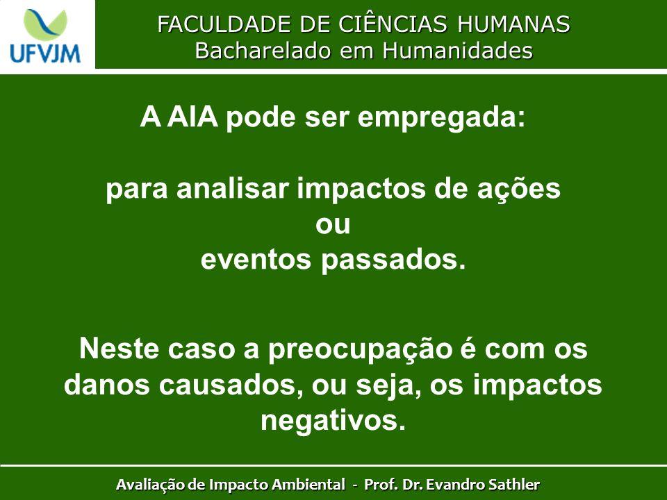 FACULDADE DE CIÊNCIAS HUMANAS Bacharelado em Humanidades Avaliação de Impacto Ambiental - Prof. Dr. Evandro Sathler A AIA pode ser empregada: para ana