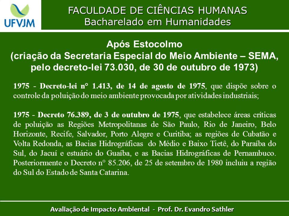 FACULDADE DE CIÊNCIAS HUMANAS Bacharelado em Humanidades Avaliação de Impacto Ambiental - Prof. Dr. Evandro Sathler Após Estocolmo (criação da Secreta