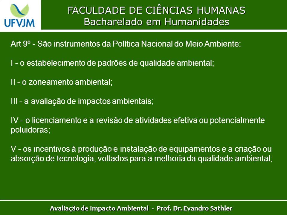 FACULDADE DE CIÊNCIAS HUMANAS Bacharelado em Humanidades Avaliação de Impacto Ambiental - Prof. Dr. Evandro Sathler Art 9º - São instrumentos da Polít
