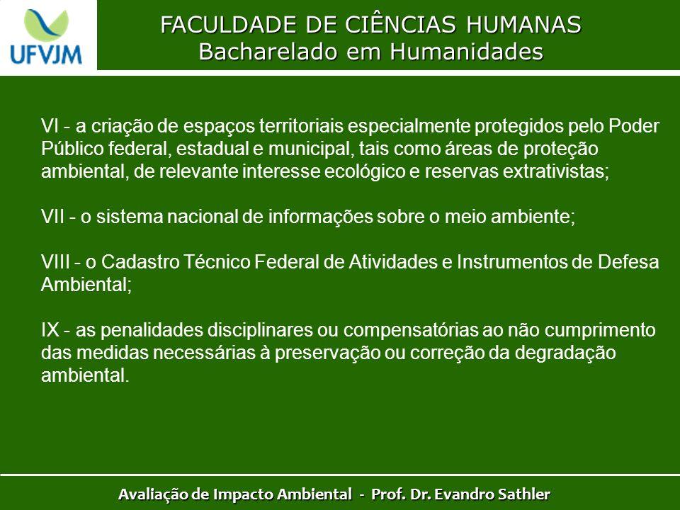 FACULDADE DE CIÊNCIAS HUMANAS Bacharelado em Humanidades Avaliação de Impacto Ambiental - Prof. Dr. Evandro Sathler VI - a criação de espaços territor