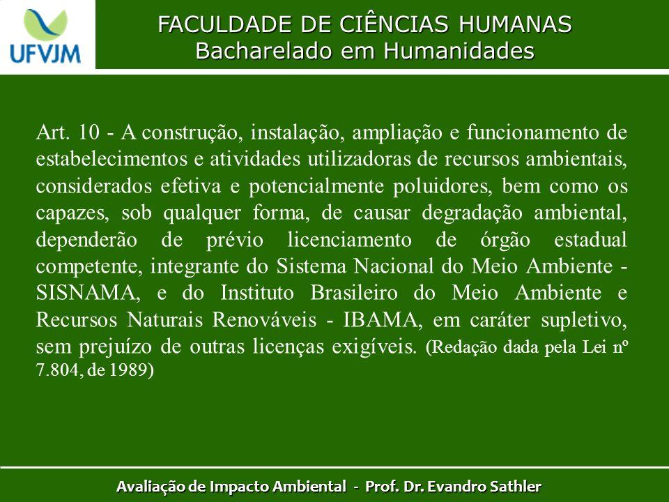FACULDADE DE CIÊNCIAS HUMANAS Bacharelado em Humanidades Avaliação de Impacto Ambiental - Prof. Dr. Evandro Sathler Art. 10 - A construção, instalação