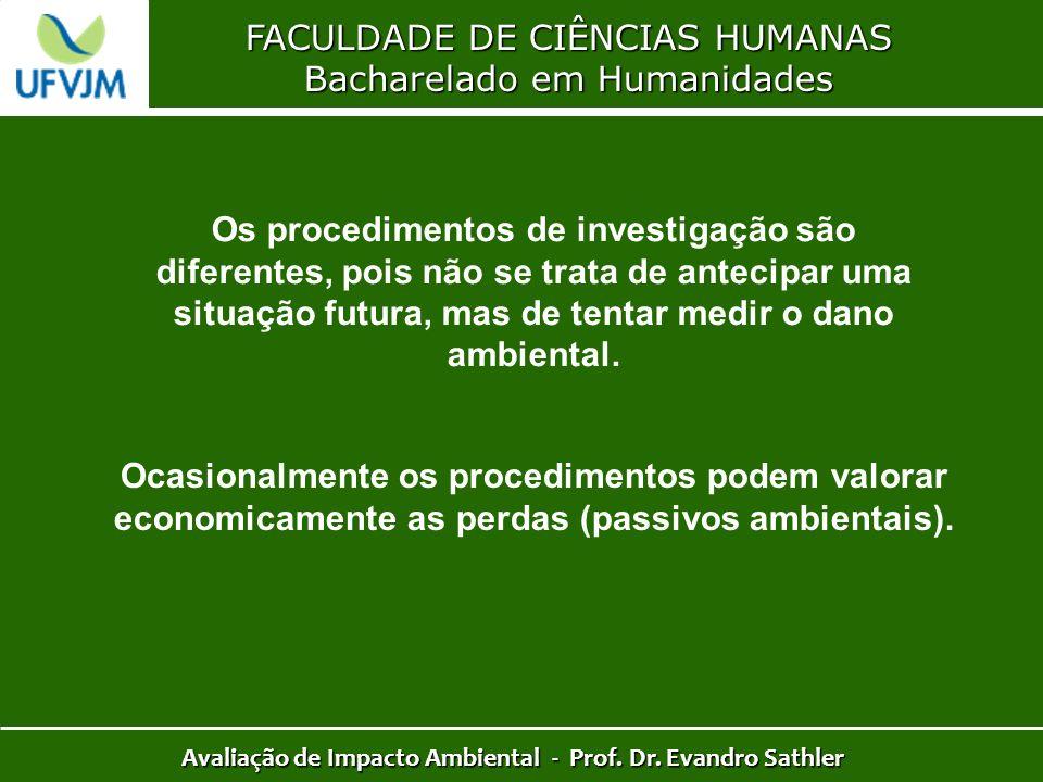 FACULDADE DE CIÊNCIAS HUMANAS Bacharelado em Humanidades Avaliação de Impacto Ambiental - Prof. Dr. Evandro Sathler Os procedimentos de investigação s