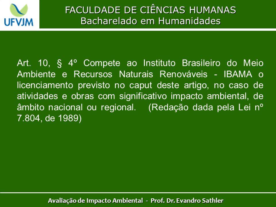 FACULDADE DE CIÊNCIAS HUMANAS Bacharelado em Humanidades Avaliação de Impacto Ambiental - Prof. Dr. Evandro Sathler Art. 10, § 4º Compete ao Instituto