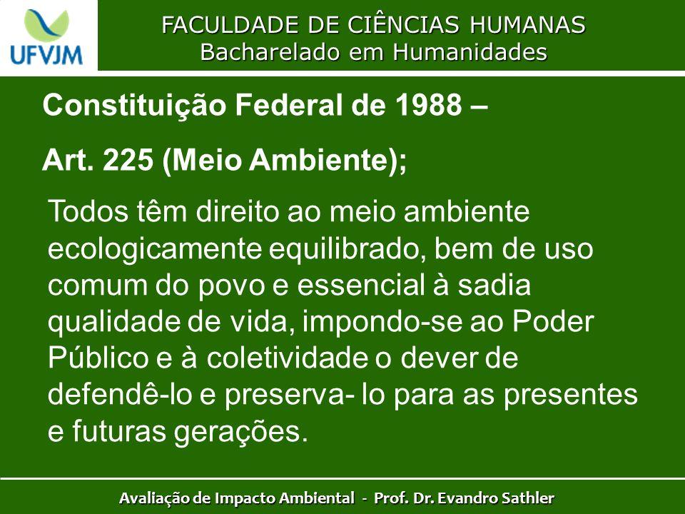 FACULDADE DE CIÊNCIAS HUMANAS Bacharelado em Humanidades Avaliação de Impacto Ambiental - Prof. Dr. Evandro Sathler Constituição Federal de 1988 – Art