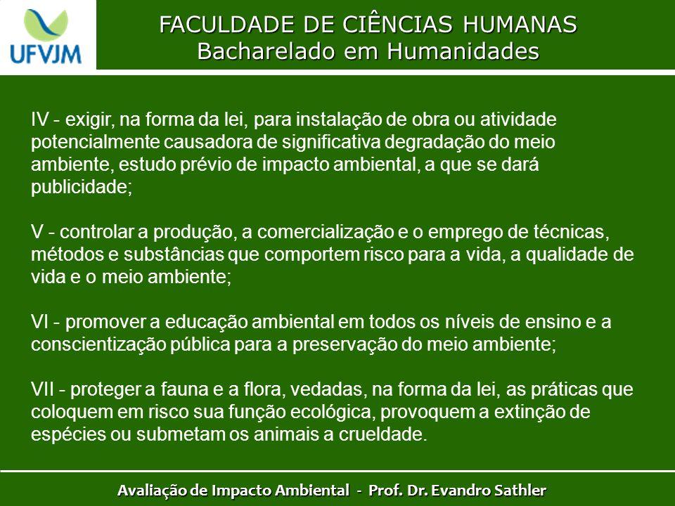 FACULDADE DE CIÊNCIAS HUMANAS Bacharelado em Humanidades Avaliação de Impacto Ambiental - Prof. Dr. Evandro Sathler IV - exigir, na forma da lei, para