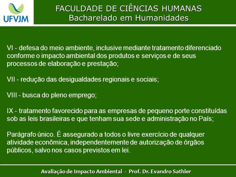 FACULDADE DE CIÊNCIAS HUMANAS Bacharelado em Humanidades Avaliação de Impacto Ambiental - Prof. Dr. Evandro Sathler VI - defesa do meio ambiente, incl