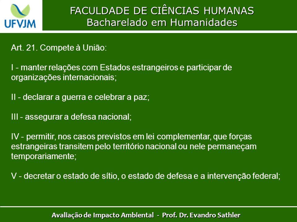 FACULDADE DE CIÊNCIAS HUMANAS Bacharelado em Humanidades Avaliação de Impacto Ambiental - Prof. Dr. Evandro Sathler Art. 21. Compete à União: I - mant