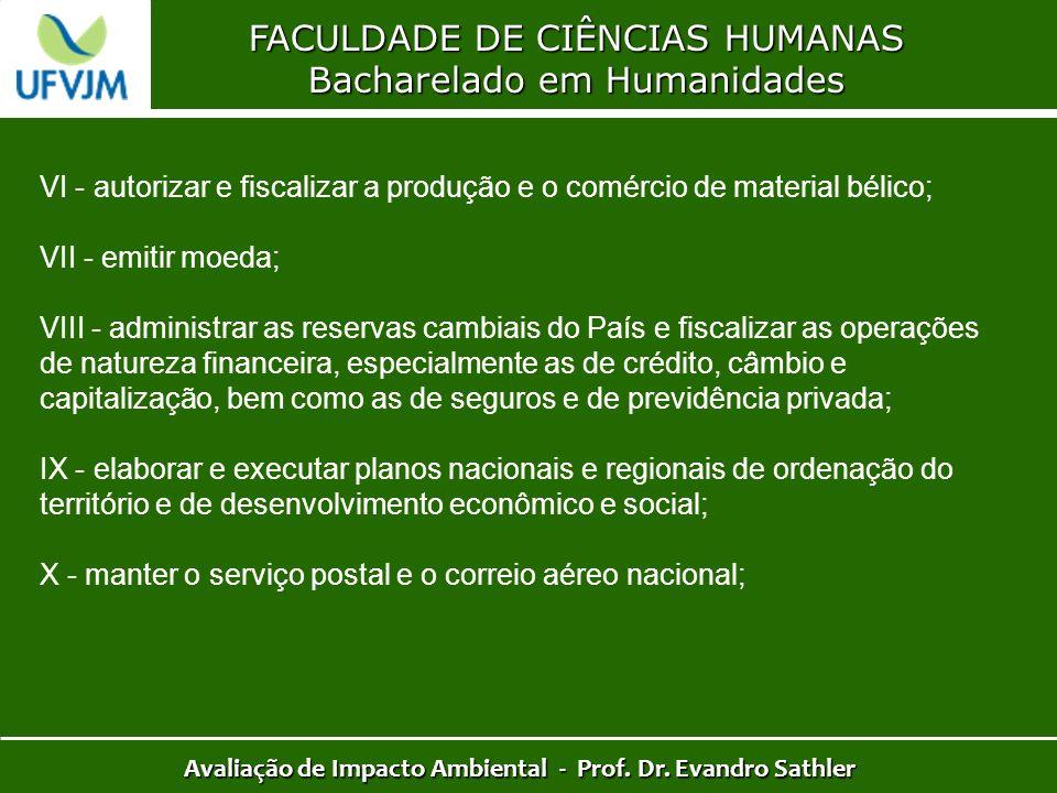 FACULDADE DE CIÊNCIAS HUMANAS Bacharelado em Humanidades Avaliação de Impacto Ambiental - Prof. Dr. Evandro Sathler VI - autorizar e fiscalizar a prod