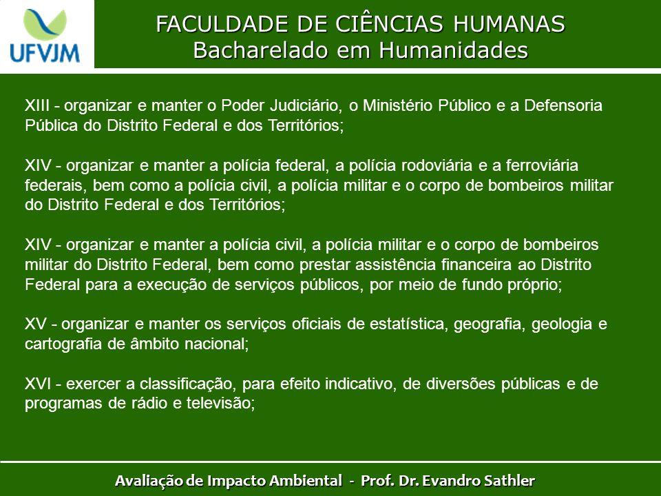 FACULDADE DE CIÊNCIAS HUMANAS Bacharelado em Humanidades Avaliação de Impacto Ambiental - Prof. Dr. Evandro Sathler XIII - organizar e manter o Poder