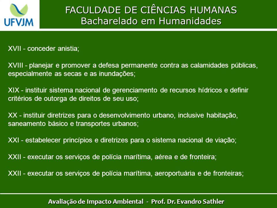 FACULDADE DE CIÊNCIAS HUMANAS Bacharelado em Humanidades Avaliação de Impacto Ambiental - Prof. Dr. Evandro Sathler XVII - conceder anistia; XVIII - p