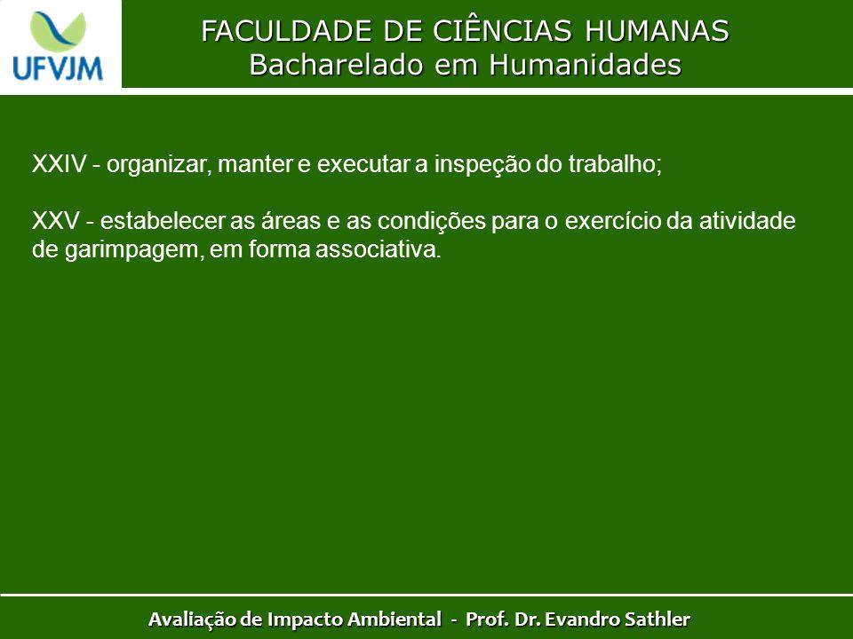 FACULDADE DE CIÊNCIAS HUMANAS Bacharelado em Humanidades Avaliação de Impacto Ambiental - Prof. Dr. Evandro Sathler XXIV - organizar, manter e executa