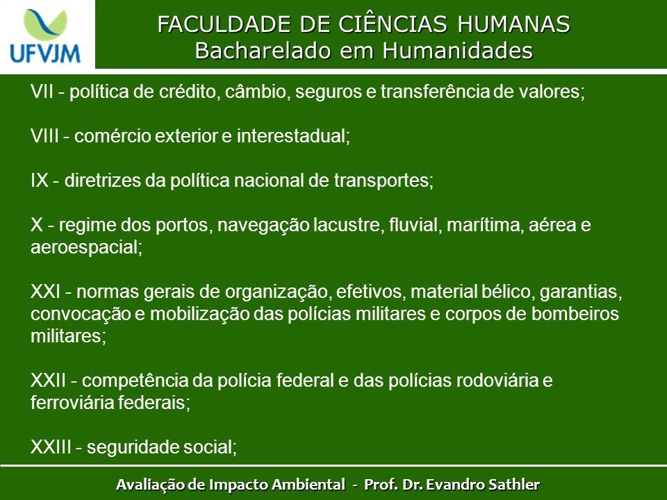 FACULDADE DE CIÊNCIAS HUMANAS Bacharelado em Humanidades Avaliação de Impacto Ambiental - Prof. Dr. Evandro Sathler VII - política de crédito, câmbio,