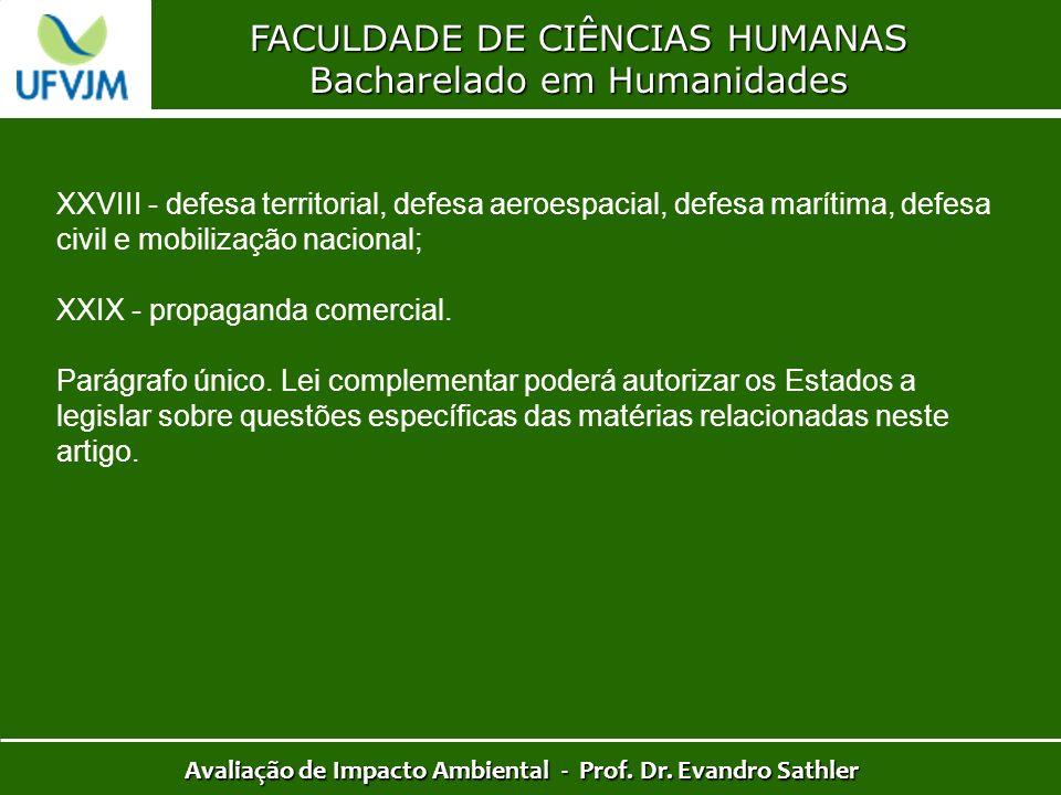 FACULDADE DE CIÊNCIAS HUMANAS Bacharelado em Humanidades Avaliação de Impacto Ambiental - Prof. Dr. Evandro Sathler XXVIII - defesa territorial, defes