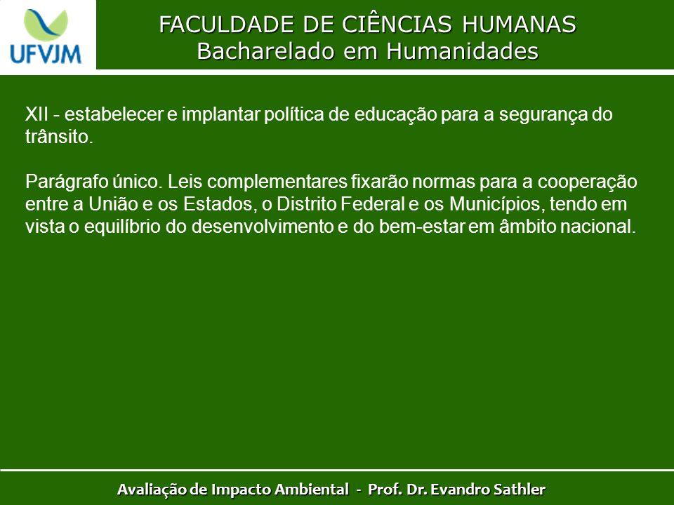 FACULDADE DE CIÊNCIAS HUMANAS Bacharelado em Humanidades Avaliação de Impacto Ambiental - Prof. Dr. Evandro Sathler XII - estabelecer e implantar polí