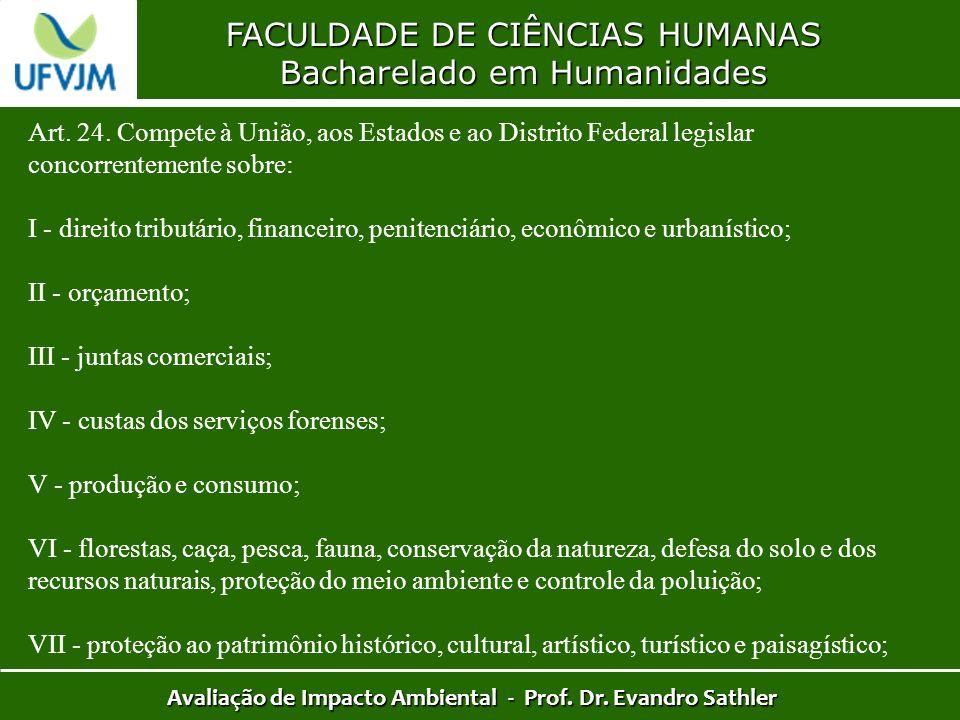 FACULDADE DE CIÊNCIAS HUMANAS Bacharelado em Humanidades Avaliação de Impacto Ambiental - Prof. Dr. Evandro Sathler Art. 24. Compete à União, aos Esta