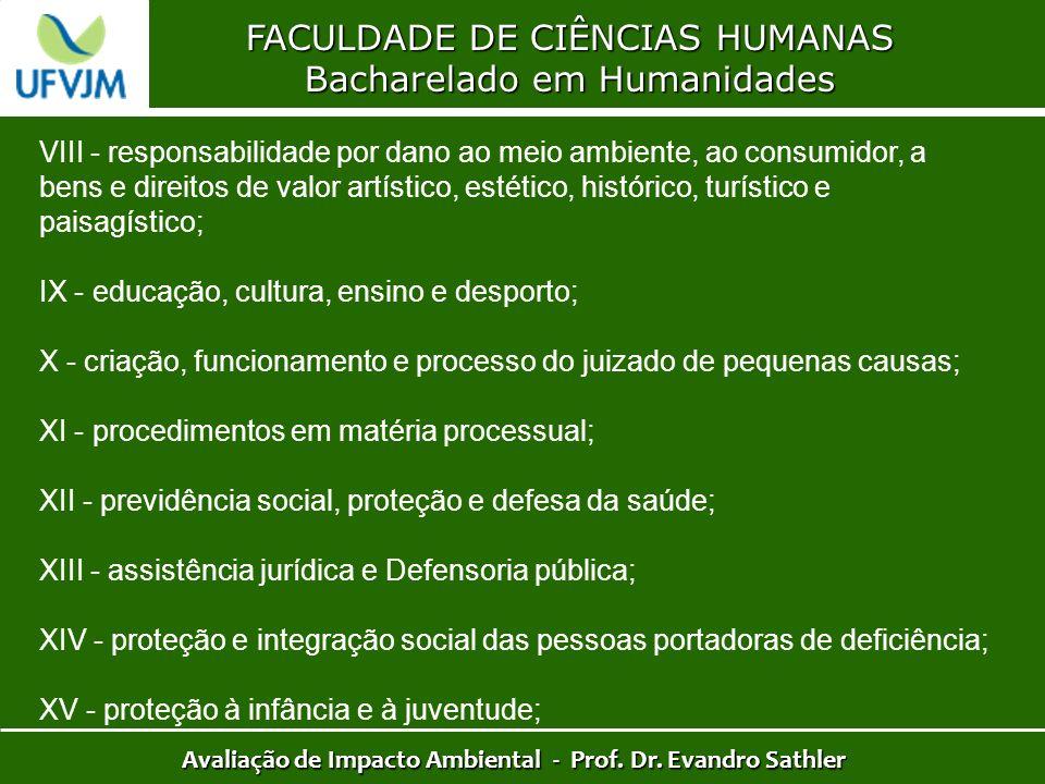 FACULDADE DE CIÊNCIAS HUMANAS Bacharelado em Humanidades Avaliação de Impacto Ambiental - Prof. Dr. Evandro Sathler VIII - responsabilidade por dano a