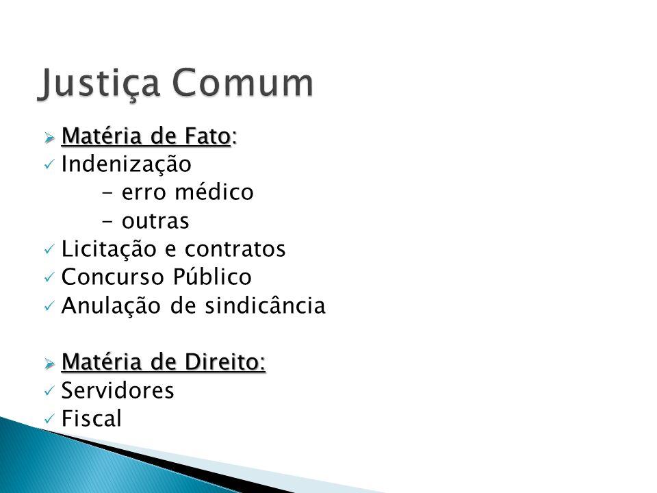 Matéria de Fato: Matéria de Fato: Indenização - erro médico - outras Licitação e contratos Concurso Público Anulação de sindicância Matéria de Direito