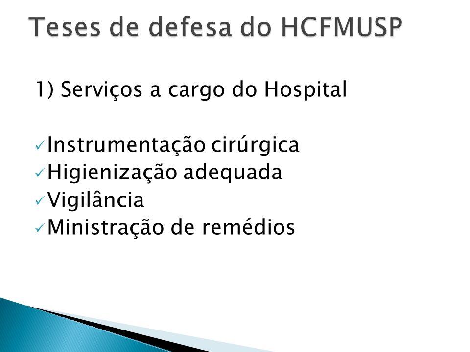 1) Serviços a cargo do Hospital Instrumentação cirúrgica Higienização adequada Vigilância Ministração de remédios